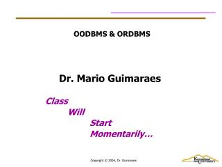 OODBMS & ORDBMS