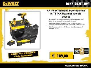 XR 10,8V Schroef/ boormachine in TSTAK box met 109-dlg accset