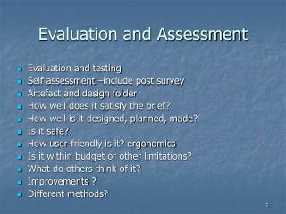 Evaluation and Assessment