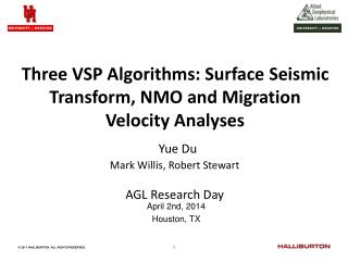 Three VSP Algorithms: Surface Seismic Transform, NMO and Migration Velocity Analyses