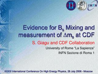 Evidence for B s  Mixing and measurement of  m s at CDF