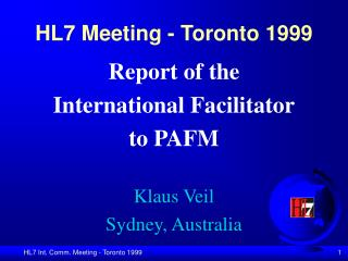 HL7 Meeting - Toronto 1999