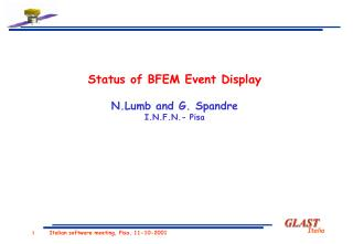 Status of BFEM Event Display N.Lumb and G. Spandre I.N.F.N.- Pisa