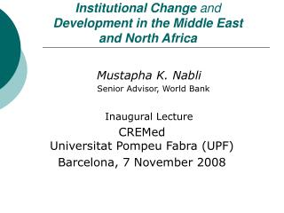 Institutional Change  and Development in the Middle East  and North Africa