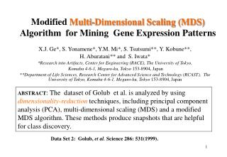 Modified  Multi-Dimensional Scaling (MDS)  Algorithm  for Mining  Gene Expression Patterns