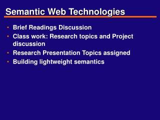 Semantic Web Technologies