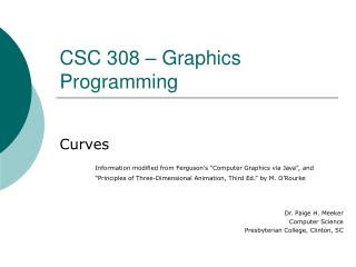 CSC 308 � Graphics Programming