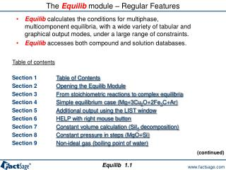 The  Equilib  module – Regular Features