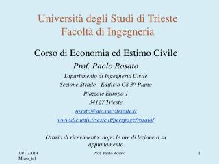 Università degli Studi di Trieste Facoltà di Ingegneria