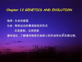 Chapter 12 GENETICS AND EVOLUTION