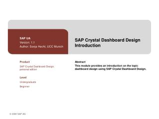 SAP Crystal Dashboard Design Introduction