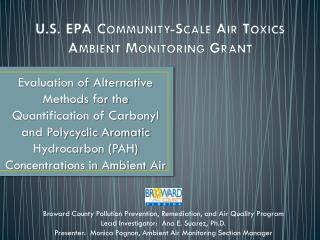 U.S. EPA Community-Scale Air Toxics Ambient  Monitoring Grant