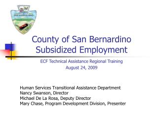County of San Bernardino  Subsidized Employment