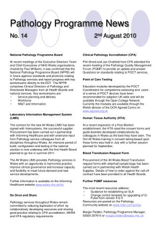Pathology Programme News No. 14 2 nd  August 2010
