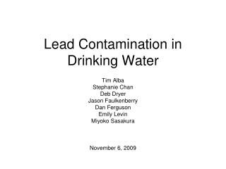 Lead Contamination in Drinking Water