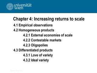 Chapter 4: Increasing returns to scale