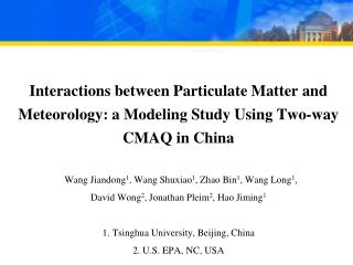 Interaction Between Particulate Matter and  Meteorology