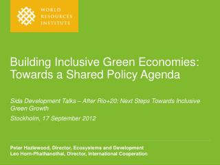 Building Inclusive Green Economies: Towards a Shared Policy Agenda