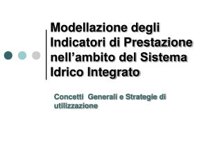 Modellazione degli Indicatori di Prestazione nell'ambito del Sistema Idrico Integrato