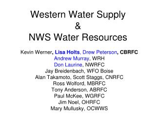 Western Water Supply & NWS Water Resources