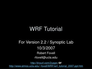 WRF Tutorial