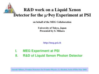 MEG Experiment at PSI R&D of Liquid Xenon Photon Detector