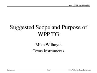 Suggested Scope and Purpose of WPP TG