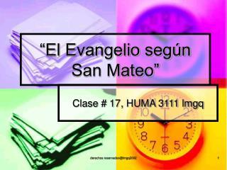 El Evangelio seg n San Mateo