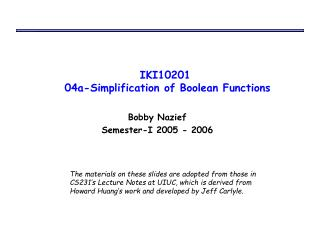 IKI10201  04a-Simplification of Boolean Functions