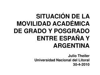 SITUACI N DE LA MOVILIDAD ACAD MICA DE GRADO Y POSGRADO ENTRE ESPA A Y ARGENTINA  Julio Theiler Universidad Nacional del
