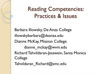 Reading Competencies: Practices & Issues