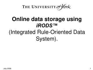 Online data storage using  iRODS�  (Integrated Rule-Oriented Data System).