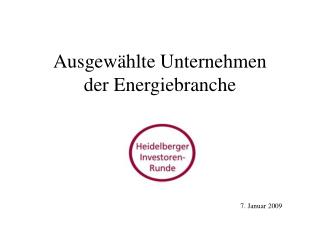 Ausgewählte Unternehmen der Energiebranche