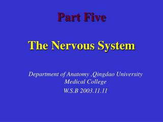 Part Five The Nervous System