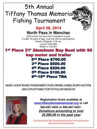 5th Annual Tiffany Thomas Memorial  Fishing Tournament