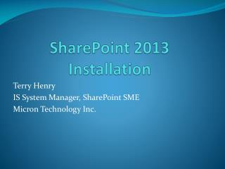 SharePoint 2013 Installation