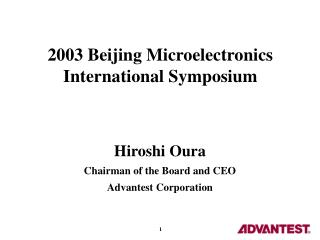 2003 Beijing Microelectronics International Symposium