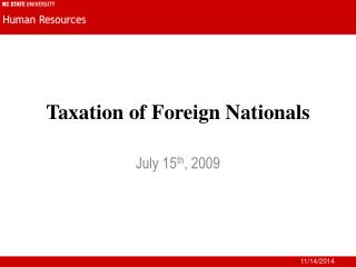 Taxation of Foreign Nationals
