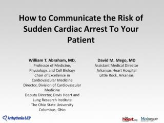 How to Communicate the Risk of Sudden Cardiac Arrest To Your Patient