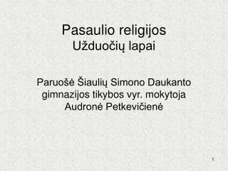 Pasaulio religijos Užduočių lapai