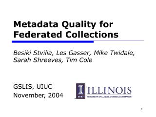Metadata Quality for Federated Collections