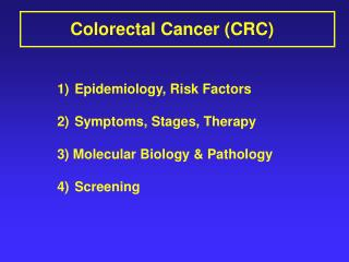 511   Colon Cancer Lecture Slides