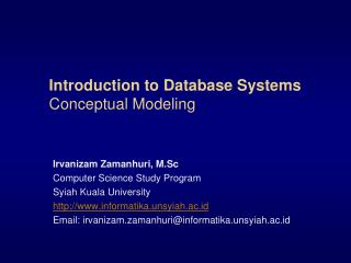 Introduction to Database Systems Conceptual Modeling