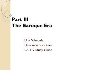 Part III The Baroque Era