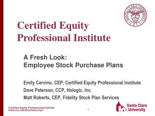A Fresh Look: Employee Stock Purchase Plans