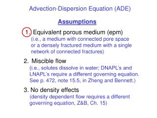 Advection-Dispersion Equation (ADE)