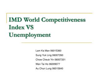 IMD World Competitiveness Index VS  Unemployment