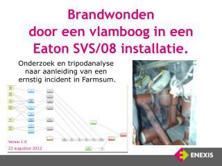 Brandwonden  door een vlamboog in een  Eaton SVS/08 installatie.