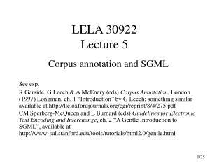 LELA 30922 Lecture 5