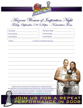 Arizona Women of  Inspiration Night Friday, September 5 @ 5:30pm – Nomination  Form